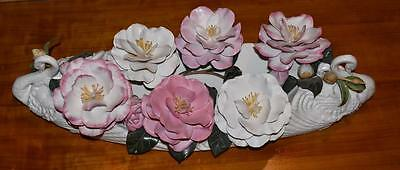 Fabulous Boehm Limited Edition Porcelain Sculpture- Swan Camillia Centerpiece