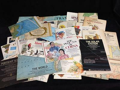 Lot of 56 NATIONAL GEOGRAPHIC MAPS and charts 1950s 1960s 1970s