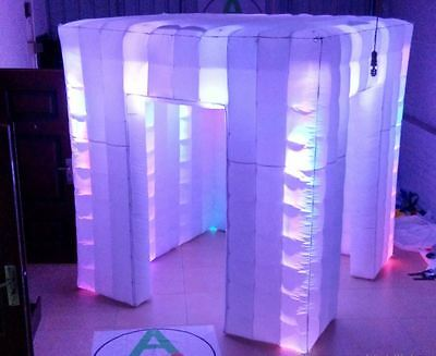Custom made 2.4 m portable inflatable photo party pop up LED lights igloo booth