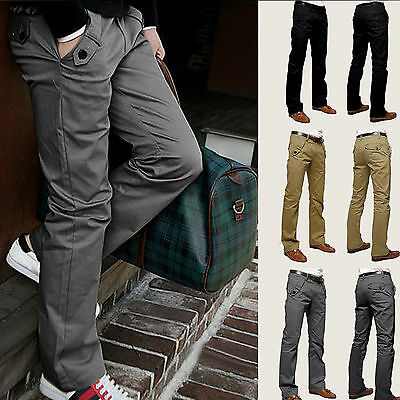 City Mens Casual Chinos Cotton Trousers Fittness Straight Leg Pants Size 29 - 36