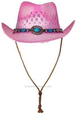 Tropic Hats Little Kids Paper Straw Cowboy/Cowgirl W/Band & Buckle #1220 Pink