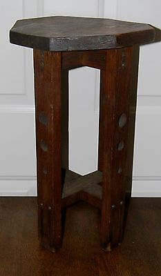 Vtg Antique Arts Crafts Mission Style Oak Handmade Plant Stand Signed Folk Art