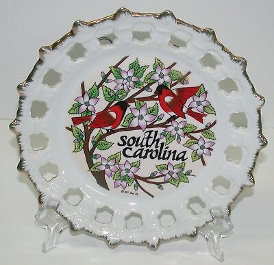 """Collectible Souvenir State Plate 8.5"""" ~ South Carolina ~ Lace Reticulated Border"""