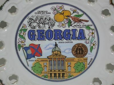 """Collectible Souvenir State Plate ~ Georgia ~ 8.5"""" ~ Lace Reticulated Border"""