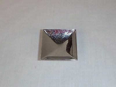"Vtg Mid Century Square Chrome  2"" Concave Drawer Pull Cabinet Hardware Reclaimed"
