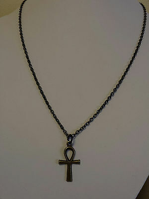 Egyptian Ankh cross antique bronze black necklace usa shipper seller 3mm chain