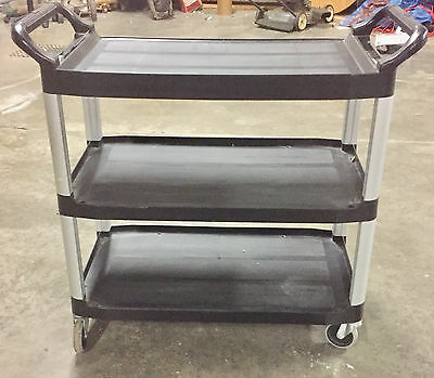 Rubbermaid Commercial 409100 BLA XTRA Service and Utility Cart, 3-Shelf Black
