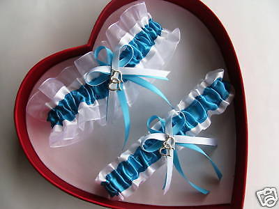 NEW Double Heart Bridal Wedding Garter Set Turquoise  White Prom GetTheGoodStuff