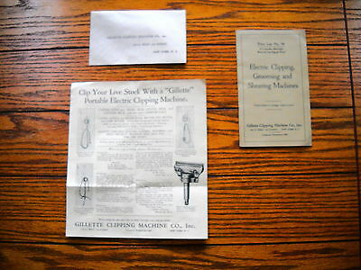 Vintage Gillette Price List - Electric Clipping , Grooming & Shearing Machines