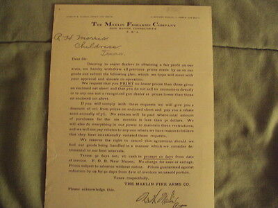 1905 Letter From The Marlin Firearms Company