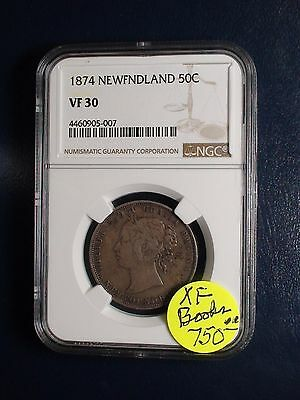 1874 Newfoundland Half Dollar NGC VF30 50C SILVER COIN PRICED TO SELL NOW!