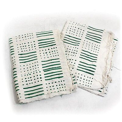 Authentic Mud Cloth Bambara Fabric - White and Green