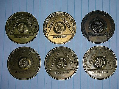 vintage aa recovery coins, tokens, alcoholics anonymous, 8-13 yr, aa on back