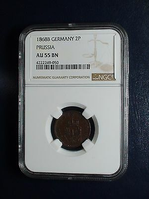 1868B Germany Prussia Two Pfenninge NGC AU55 BN COIN PRICED TO SELL NOW !