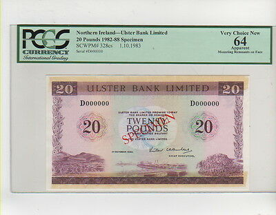 1983 Northern Ireland Ulster Bank Limited 20 Pounds Specimen Pcgs 64