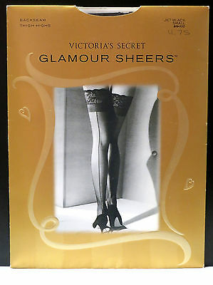Vintage Victoria's Secret Glamour Sheers Lace top Thigh Highs Backseam Black S