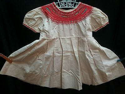 Vintage 1950 60s baby girls dress clothing  2 3 peasant Cinco De Mayo radiant