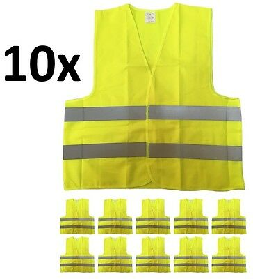10-PACK Yellow Reflective Safety Vest, Class 2, High Visibility, XL Size