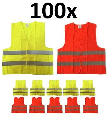 100 x Wholesale Lot Reflective Safety Vest, Class 2, XL Size, Orange and Yellow