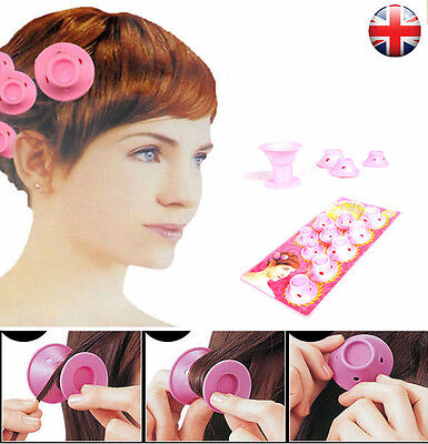 UK 10pcs Beauty Women Roll Hair Maker Curlers Roller Soft Silicone DIY Cosmetic