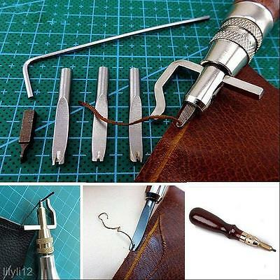 5 In 1 Lot Set Kit Leather Tools DIY Leather Groover Crease Adjustable Stitching
