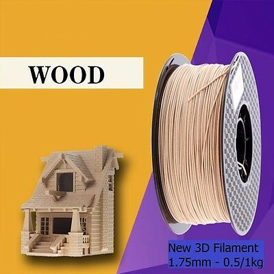 Premium 3D Printer Filament Roll 1.75mm Wood-Infused PLA Printing Natural Brown
