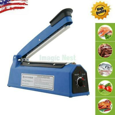 "8"" 300W Impulse Heat Poly Bag Sealer Plastic Closer Machine Teflon Sealing Wrap"