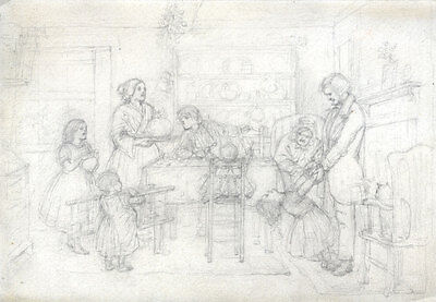 Joseph Clark - Late 19th Century Graphite Drawing, In the Dining Room