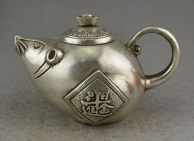 Collectible Decorate Old Handwork Silver Plate Copper Carved Mice Wealth Tea Pot