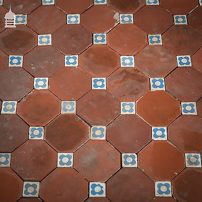 Reclaimed Victorian Octagonal Floor Tiles with Blue Flower Detail