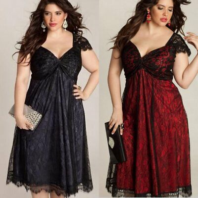 Plus Size Women Evening Party Prom Gown Formal Bridesmaid Cocktail Lace Dresses