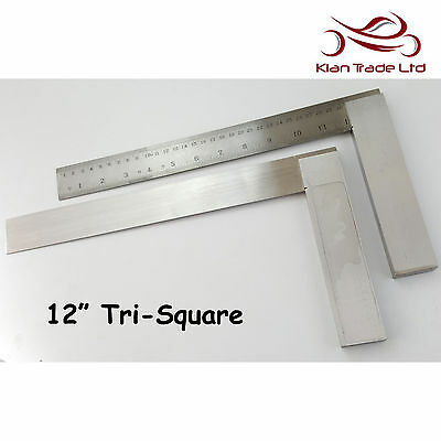 "Tri Square 12"" inch 300mm Graduated Marked Try Top Quality Wood Carpentry Tool"