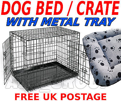 Pet Dog Puppy Folding Crate Cage Carrier + Bedding LARGE Transport / Training