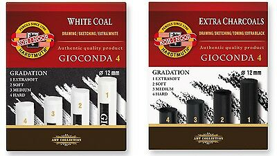 Gradational Extra Charcoal Whitecoal Stick Set Gioconda Black White Kohinoor Kin
