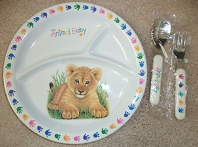 *New* National Wildlife Federation Animal Baby Divided Plate w/ Fork Spoon