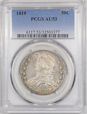 1819 Capped Bust Half Dollar Pcgs Au-53. Another Coin From The Reeded Edge!