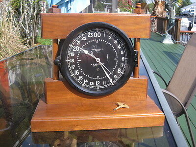 "Chelsea Military Clock 8 1/2"" Dial Dated 1959 24 Hr 8 1/2"" Dial Minty"