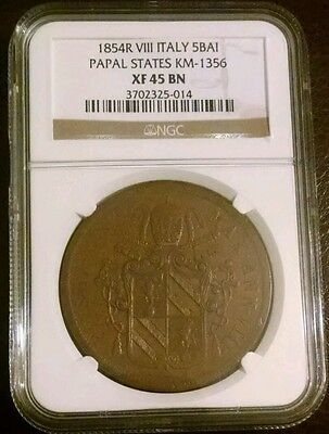 1854 R VIII Italy Papal States 5 Baiocchi Coin - NGC XF45 BN - Vatican
