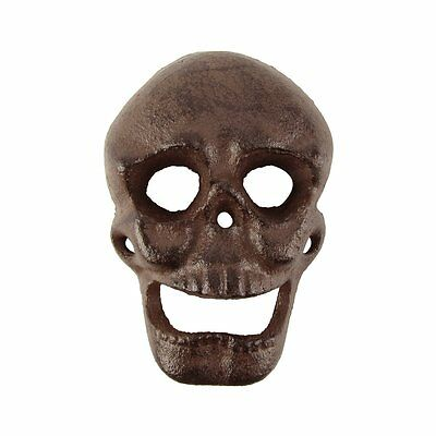 Metal Wall Mount Skeleton Head Skull Beer or Soda Bottle Opener Cast Iron