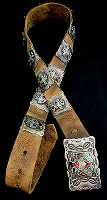 Vintage Old Pawn Navajo Silver and Turquoise Concho Belt RARE Fred Harvey *TB452