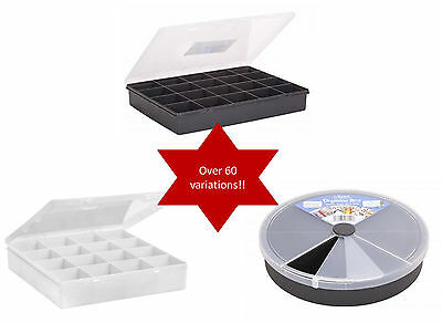 Wham Plastic Organiser Storage Compartment Box with Secure Clear Click Lock Lid