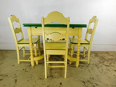 Antique 1940s Deco MCM Stenciled Enamel Top Kitchen Table +4 Wood Painted Chairs