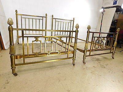 Fancy & Grand Pair Antique 1930s Brass Twin Pineapple Beds Very High End Ornate