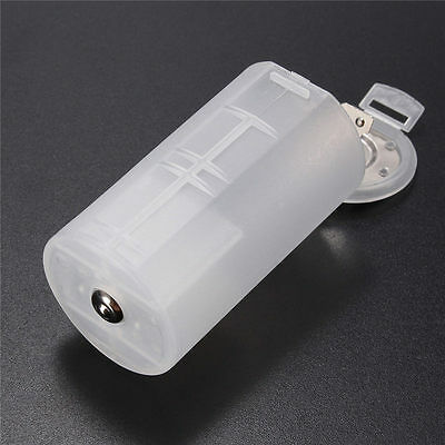 Plastic White AA to D Size Battery Holder Conversion Adapter Switcher Converter