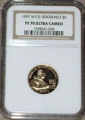 1997-W  F.D. Roosevelt $5 Gold Commemorative NGC PF 70 ULTRA CAMEO