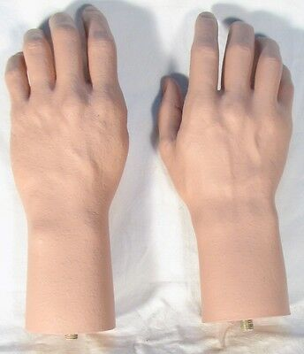Pair Mannequin SMALL Male Hand Lifesize Lifelike Fleshtone Manikin Dummy NEW