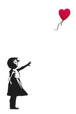 Banksy Red Heart Balloon POSTER (61x91cm) Picture Print New Art