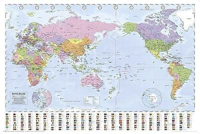 (LAMINATED) WORLD MAP FLAGS POSTER (61x91cm) PACIFIC CENTERED Australia Middle