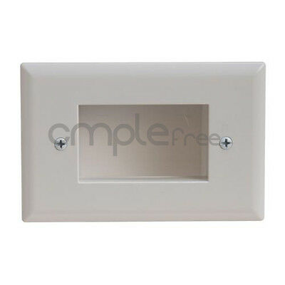 Wall Plate Recessed Mount Low Voltage Cable Lite White NEW