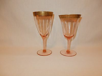 2 Tiffin Rambler Rose Gold Encrusted Pink Ribbed Optic Glass Goblets Water Wine